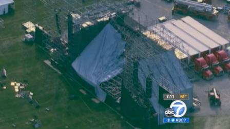 This aerial photo shows a collapsed stage at the site for a Radiohead concert at Downsview Park in Toronto on Saturday June 16, 2012.