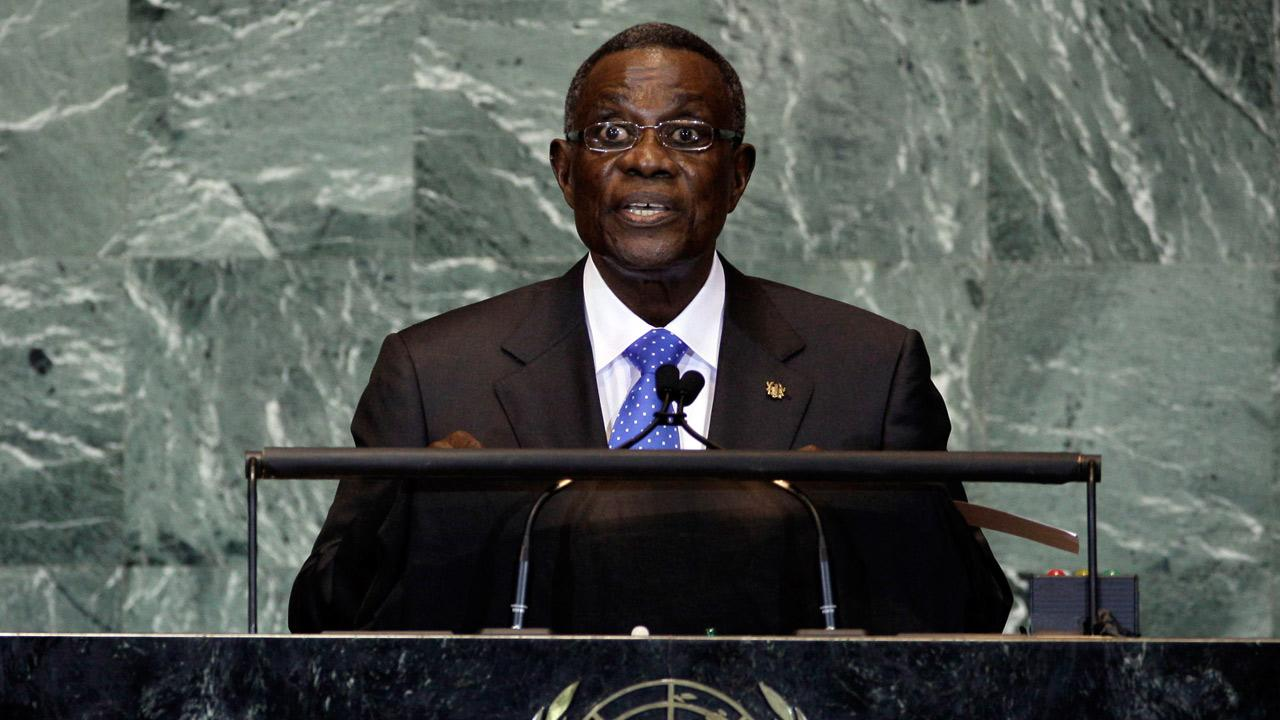 In this file photo taken on Friday, Sept. 23, 2011, President of Ghana, John Evans Atta Mills, addresses the 66th session of the United Nations General Assembly. <span class=meta>(Richard Drew)</span>