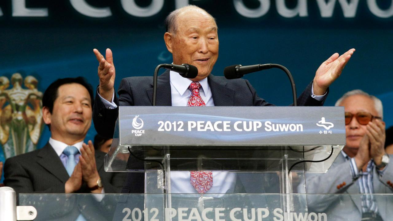 In this July 19, 2012 file photo, Rev. Sun Myung Moon, the controversial founder of the Unification Church, speaks during the opening ceremony of the 2012 Peace Cup Suwon at Suwon World Cup Stadium in Suwon, South Korea.Ahn Young-joon