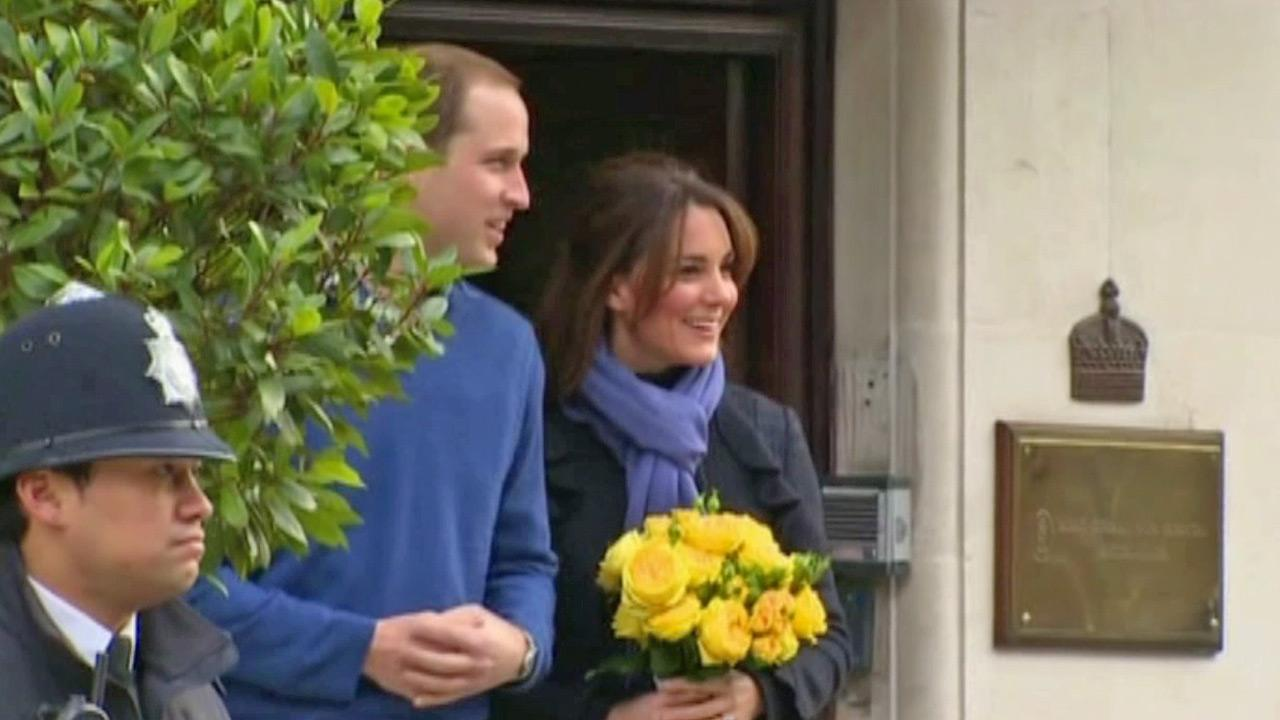 Britains Prince William stand next to his wife Kate, Duchess of Cambridge as she leaves the King Edward VII hospital in central London, Thursday, Dec. 6, 2012.