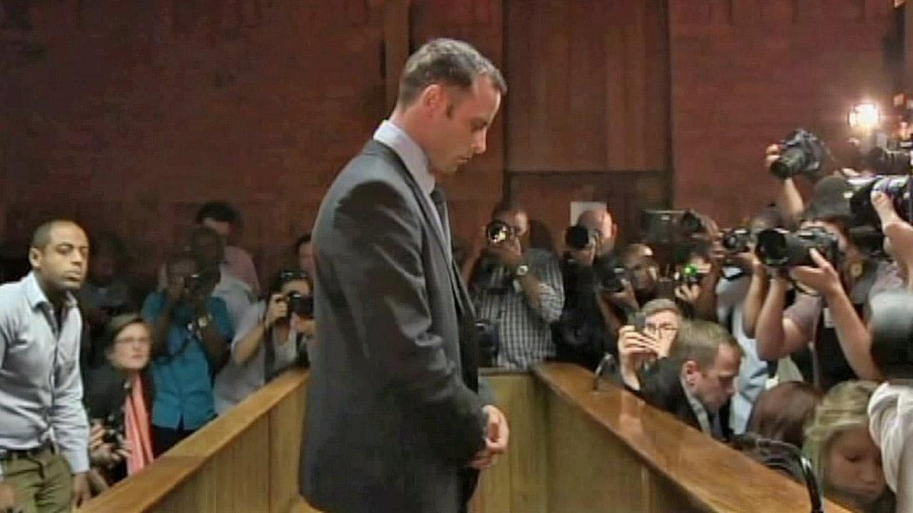 Olympic athlete Oscar Pistorius appears in court Friday Feb. 22, 2013 in Pretoria, South Africa, for his bail hearing.