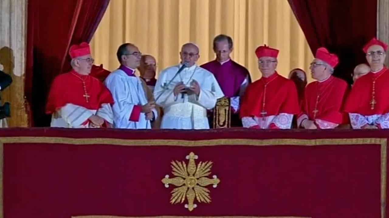 Pope Francis speaks to the crowd from the central balcony of St. Peters Basilica at the Vatican, Wednesday, March 13, 2013. Cardinal Jorge Bergoglio, who chose the name of Francis is the 266th pontiff of the Roman Catholic Church.