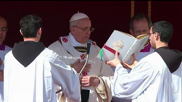 Pope Francis is seen at his inaugural Mass