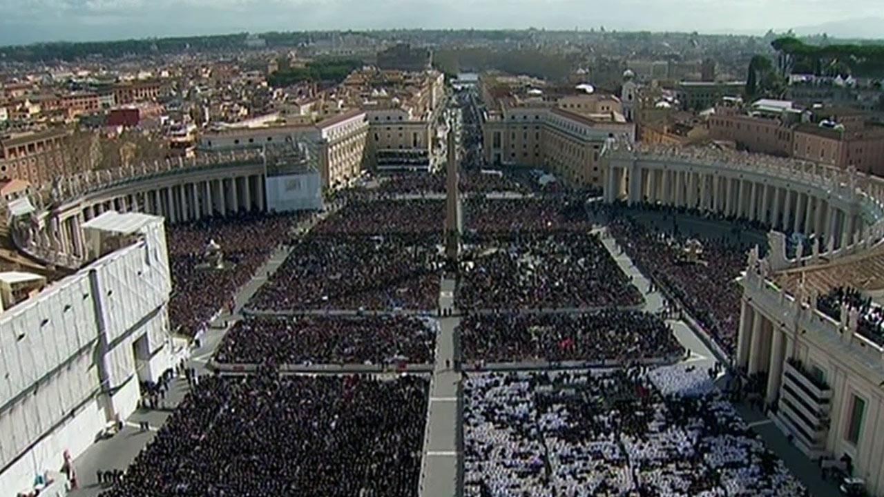 Tens of thousands of people filled St. Peters Square for Pope Francis inaugural Mass at the Vatican on Tuesday, March 19, 2013.