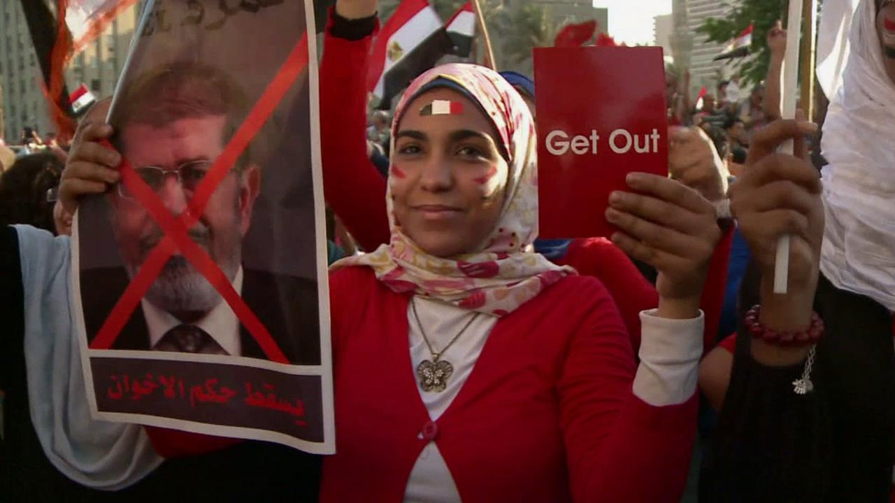 A woman protests against Egypts Islamist President Mohammed Morsi on Sunday, June 30, 2013.