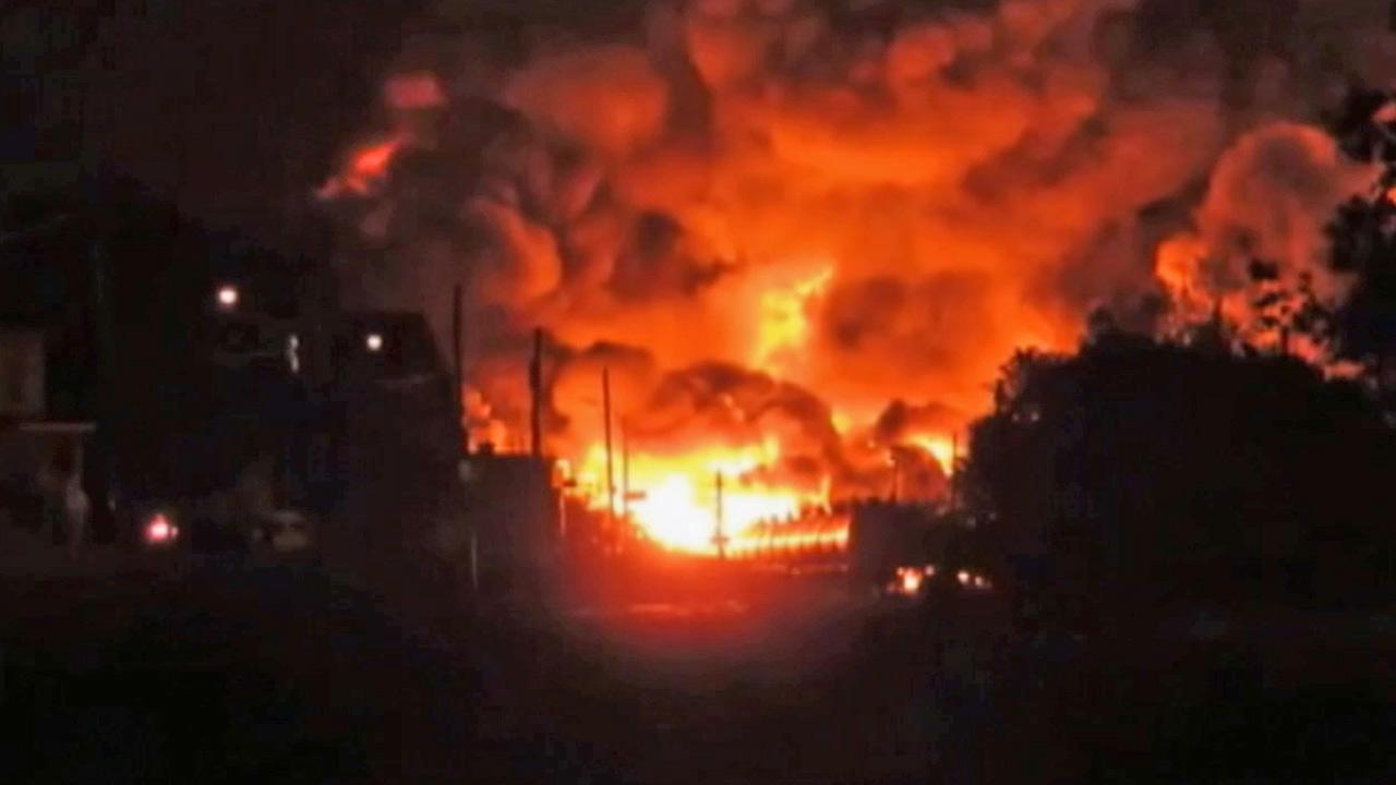An entire town in Quebec, Canada, was evacuated after a train carrying crude oil derailed and caught fire on Saturday, July 6, 2013.