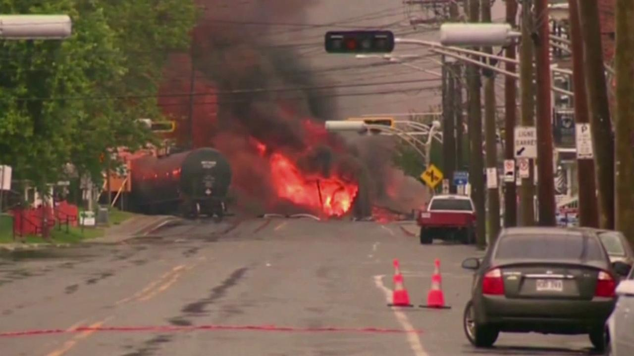 A train carrying crude oil derailed in the eastern Quebec town of Lac-Megantic, igniting explosions and fires on Saturday, July 6, 2013.
