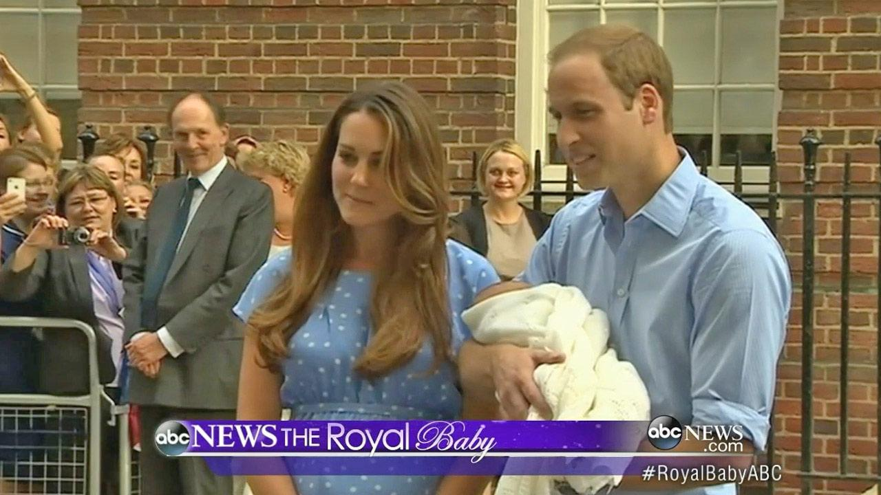 Prince William and his wife Kate, the Duke and Duchess of Cambridge, appear at the step of St. Marys Hospital with their newborn son on Tuesday, July 23, 2013.