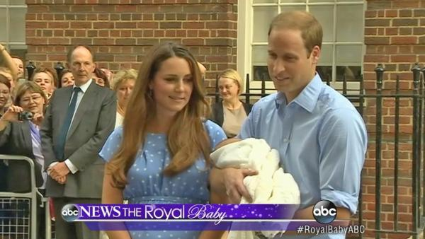 Prince William and his wife Kate, the Duke and Duchess of Cambridge, appear at the step of St. Mary's Hospital with their newborn son on Tuesday, July 23, 201