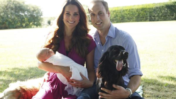 Prince William and his wife, Kate, Duchess of Cambridge, released this family photo with their son, Prince George, Tilly, the Middleton family pet, and Lupo, the couple's cocker spaniel.