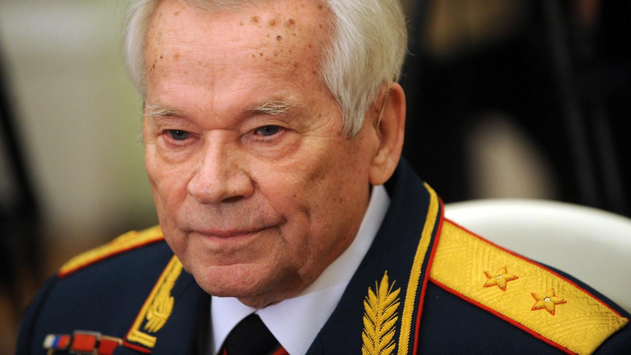 In this Tuesday, Nov. 10, 2009 file photo Mikhail Kalashnikov, who invented the AK-47 assault rifle, attends festivities to celebrate his 90th birthday at the Kremlin in Moscow.Natalia Kolesnikova, Pool, file