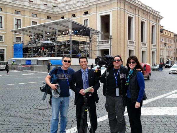 "<div class=""meta image-caption""><div class=""origin-logo origin-image ""><span></span></div><span class=""caption-text"">The ABC7 Rome crew poses for a photo while covering the papal conclave in Italy. (KABC)</span></div>"