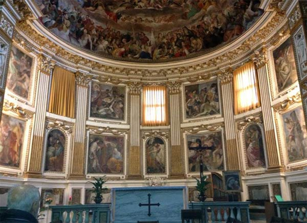 "<div class=""meta image-caption""><div class=""origin-logo origin-image ""><span></span></div><span class=""caption-text"">An inside view of Santi Quattro Coronati or the Basilica of the Four Crowned Martyrs. (KABC)</span></div>"