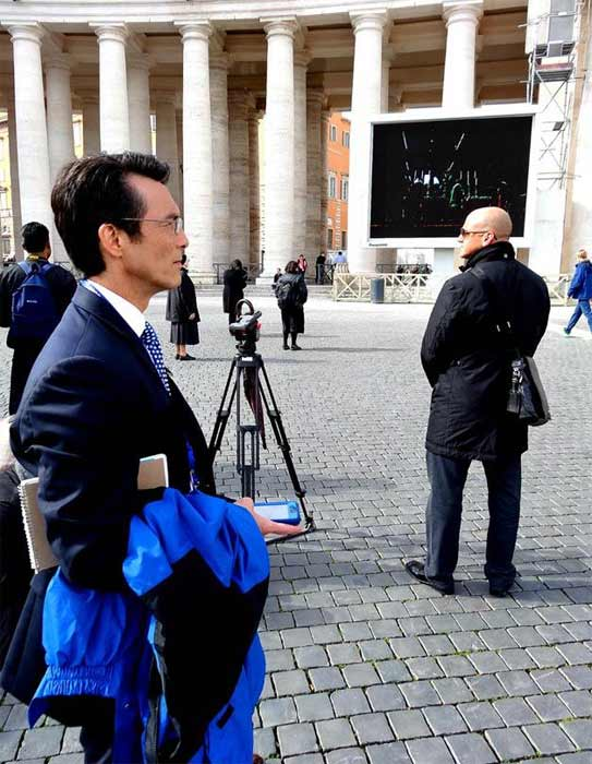 "<div class=""meta ""><span class=""caption-text "">ABC7 Anchor David Ono admires the beautiful sights in Rome, Italy, during his coverage of the papal conclave.  (KABC)</span></div>"