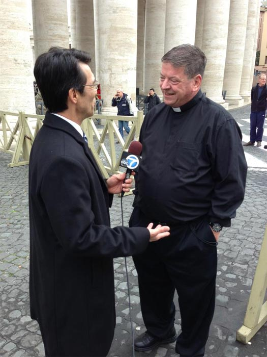"<div class=""meta ""><span class=""caption-text "">ABC7 Anchor David Ono interviews Monsignor Terrance Fleming from Los Angeles' St. Brendan Church  on Thursday, March 7, 2013. (KABC)</span></div>"