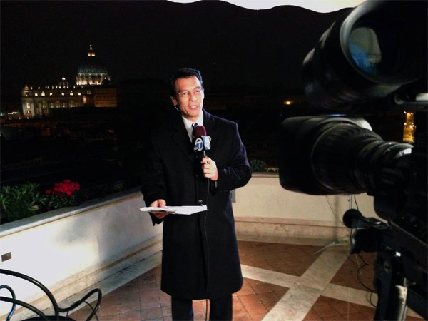 ABC7 Anchor David Ono reporting on the papal conclave on Wednesday, March 6, 2013. <span class=meta>(KABC)</span>