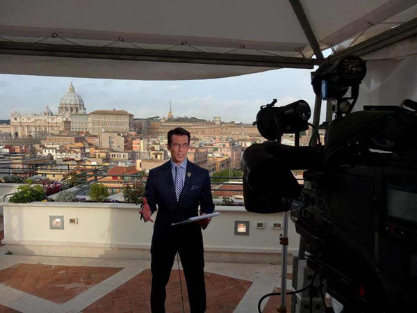 ABC7 Anchor David Ono reporting on the papal conclave from the roof of the hotel in Rome, Italy. <span class=meta>(KABC)</span>