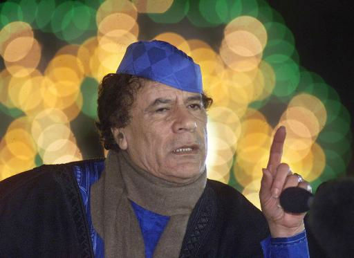 "<div class=""meta ""><span class=""caption-text "">Libyan leader Col. Moammar Gadhafi talks Monday, Feb.5, 2001, during a press conference in Tripoli.  (AP Photo/ AMR NABIL)</span></div>"