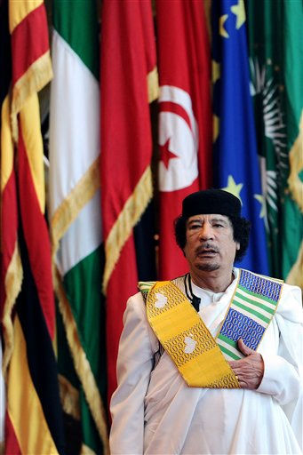 Libyan leader Moammar Gadhafi arrives for the 3rd Africa-EU Summit in Tripoli, Libya, Monday Nov. 29, 2010.  <span class=meta>(Photo&#47;Geert Vanden Wijngaert)</span>