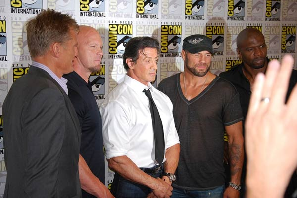 Sylvester Stallone and some of his cast members...