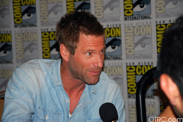 Actor Aaron Eckhart is seen at a panel for the...