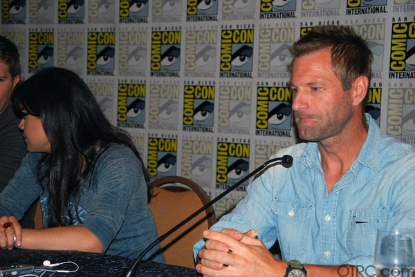 Actors Michelle Rodriguez and Aaron Eckhart on 'Battle: Los Angeles' movie panel at Comic-Con 2010 in San Diego