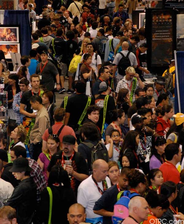 TThe crowd swarms around the convention floor at Comic-Con 2010 in San Diego