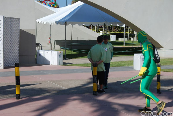 A fan dressed as the hero from 'Kick-Ass' heads into the 2010 Comic-Con on Thursday.