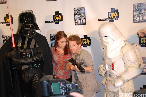 "<div class=""meta image-caption""><div class=""origin-logo origin-image ""><span></span></div><span class=""caption-text"">Actor Seth Green is seen with a 'Star Wars' character at a G4 party at Comic-Con in San Diego on Thursday, July 22, 2010.</span></div>"