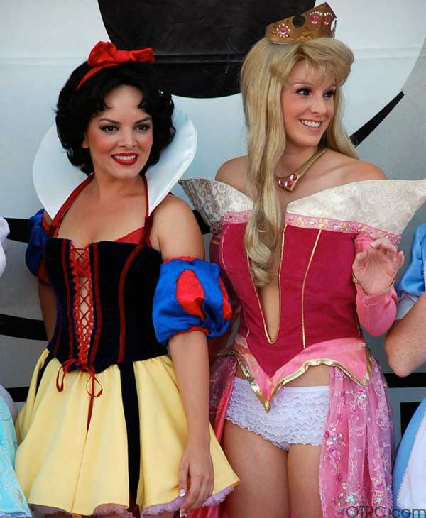 Snow White and Sleeping Beauty lined up outside...