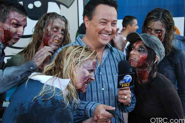 KABC reporter George Pennacchio gets attacked by zombies outside Comic-Con in San Diego on Saturday July 24, 2010.