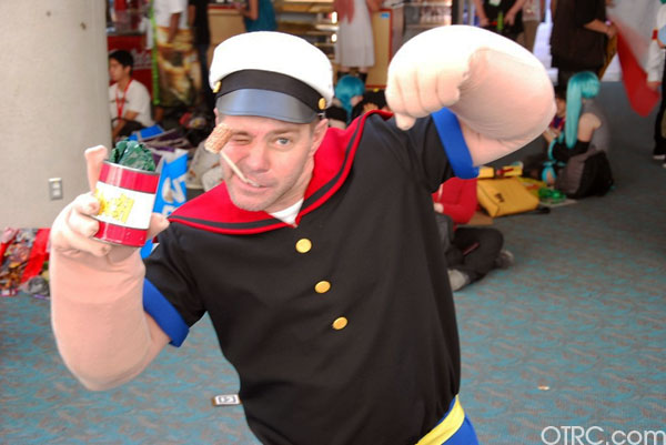 A fan dressed as Popeye the Sailor is seen outside Comic-Con in San Diego on Saturday July 24, 2010.
