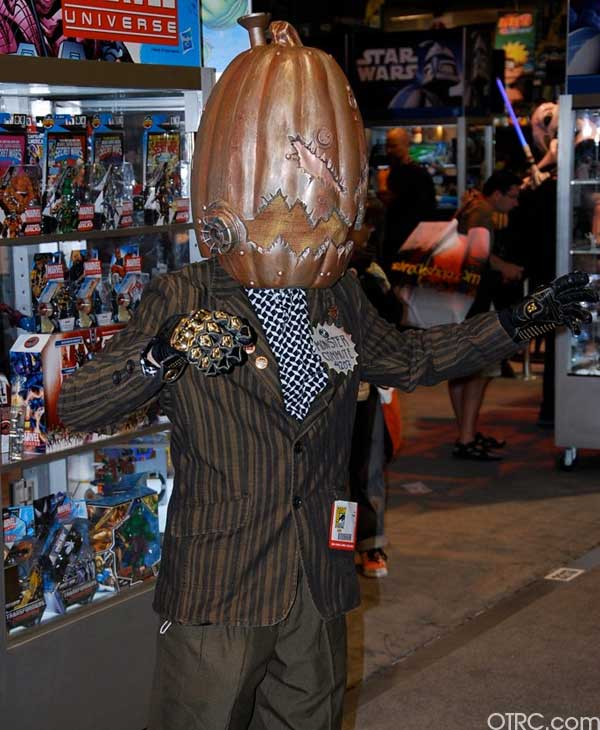 A fan tries to compete in a monster coustume contest at Comic-Con in San Diego on Saturday July 24, 2010.