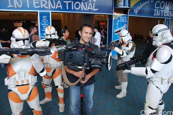 Don't worry about the camera man. These Storm and Clone Troopers seen at Comic-Con in San Diego on Saturday July 24, 2010, have their blaster rifles set to stun.