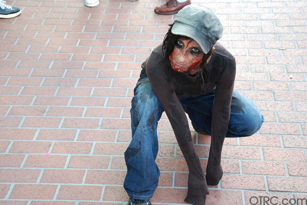 A zombie gets ready to attack outside Comic-Con in San Diego on Saturday July 24, 2010.