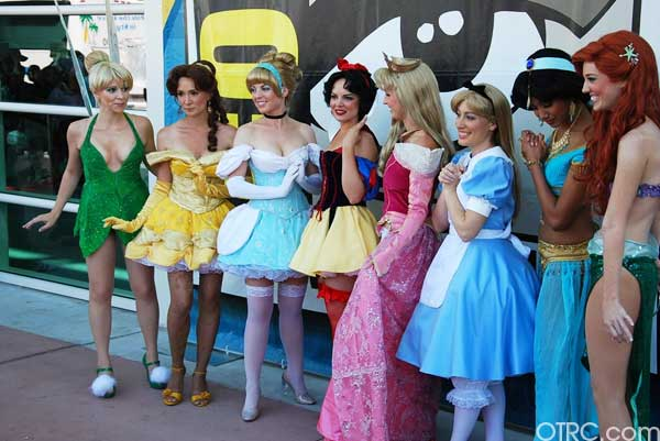 A few Disney princesses lined up outside Comic-Con in San Diego on Saturday July 24, 2010.