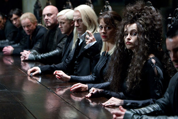 Bellatrix Lestrange &#40;Helena Bonham Carter&#41;, Narcissa Malfoy &#40;Helen McCrory&#41;, Lucius Malfoy &#40;Jason Isaacs&#41; and Draco Malfoy &#40;Tom Felton&#41; appear in a scene from &#39;Harry Potter and the Deathly Hallows - Part 1.&#39; <span class=meta>(Jaap Buitendijk &#47; Warner Bros. Pictures)</span>