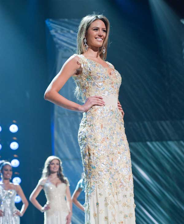 "<div class=""meta ""><span class=""caption-text "">Jesinta Campbell, Miss Australia 2010, poses for the judges during final voting at the live telecast of the 2010 Miss Universe Pageant at the Mandalay Bay Events Center in Las Vegas, Nevada on Monday, August 23, 2010.  (Patrick Prather/Miss Universe Organization)</span></div>"