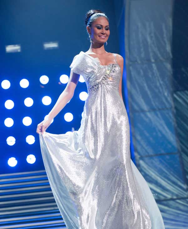 Venus Raj, Miss Philippines 2010, poses for the judges during final voting at the live telecast of the 2010 Miss Universe Pageant at the Mandalay Bay Events Center in Las Vegas, Nevada on Monday, August 23, 2010.