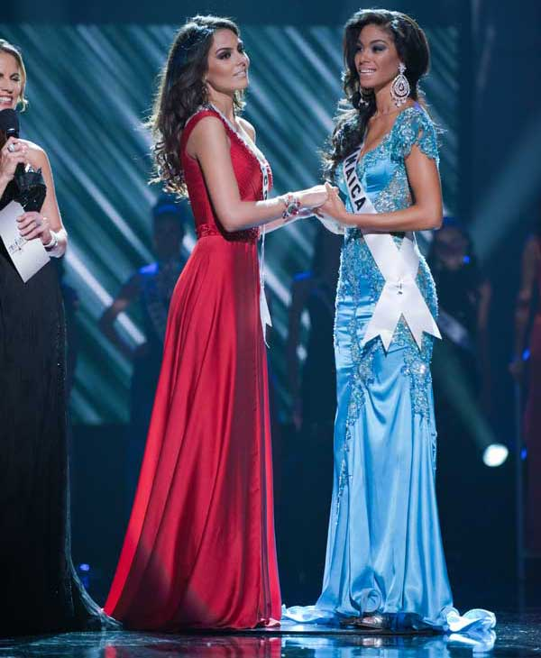 Co-Hosts Bret Michaels and Natalie Morales with the top two finalists, Jimena Navarrete, Miss Mexico 2010, and Yendi Phillipps, Miss Jamaica 2010, during the 2010 Miss Universe Pageant at the Mandalay Bay Events Center in Las Vegas, Nevada on Monday, August 23, 2010. <span class=meta>(Patrick Prather&#47;Miss Universe Organization)</span>