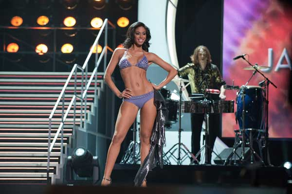 Yendi Phillipps, Miss Jamaica 2010, competes in her Dar Be Dar swimsuit during the 2010 Miss Universe Pageant swimsuit competition at the Mandalay Bay Events Center in Las Vegas, Nevada on Monday, August 23, 2010. <span class=meta>(Matt Petit&#47;Miss Universe Organization)</span>