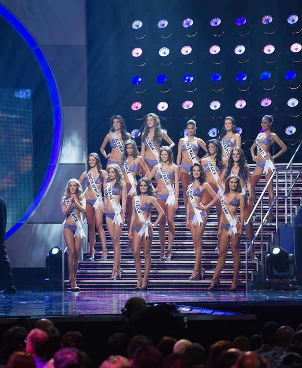 The top 15 finalists at the 2010 Miss Universe Pageant swimsuit competition at the Mandalay Bay Events Center in Las Vegas, Nevada on Monday, August 23, 2010.