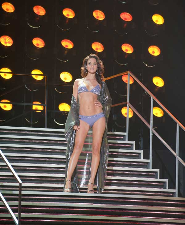 Cilou Annys, Miss Belgium 2010, competes in her Dar Be Dar swimsuit during the 2010 Miss Universe Pageant swimsuit competition at the Mandalay Bay Events Center in Las Vegas, Nevada on Monday, August 23, 2010.