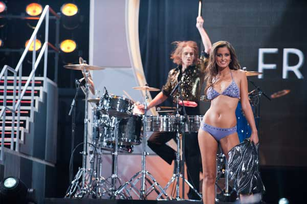 Malika Menard, Miss France 2010, competes in her Dar Be Dar swimsuit during the 2010 Miss Universe Pageant swimsuit competition at the Mandalay Bay Events Center in Las Vegas, Nevada on Monday, August 23, 2010. <span class=meta>(Matt Petit&#47;Miss Universe Organization)</span>