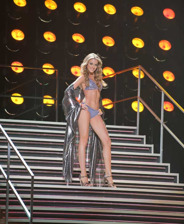 Mariana Paola Vicente, Miss Puerto Rico 2010, competes in her Dar Be Dar swimsuit during the 2010 Miss Universe Pageant swimsuit competition at the Mandalay Bay Events Center in Las Vegas, Nevada on Monday, August 23, 2010. <span class=meta>(Matt Petit&#47;Miss Universe Organization)</span>