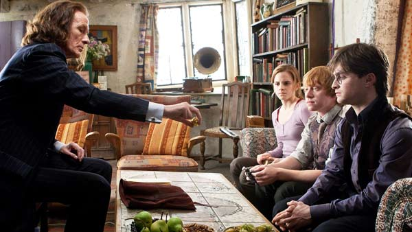 Rufus Scrimgeour &#40;Bill Nighy&#41;, Hermione Granger &#40;Emma Watson&#41;, Ron Weasley &#40;Rupert Grint&#41; and Harry Potter &#40;Daniel Radcliffe&#41; appear in a scene from &#39;Harry Potter and the Deathly Hallows - Part 1.&#39; <span class=meta>(Jaap Buitendijk &#47; Warner Bros. Pictures)</span>