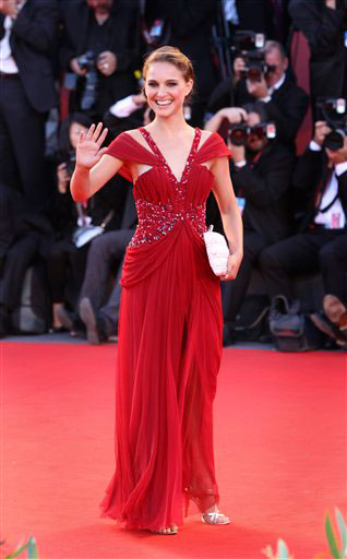 Natalie Portman arrives for the screening of the opening movie 'Black Swan' at the 67th edition of the Venice Film Festival in Venice, Italy, Wednesday, Sept. 1, 2010.