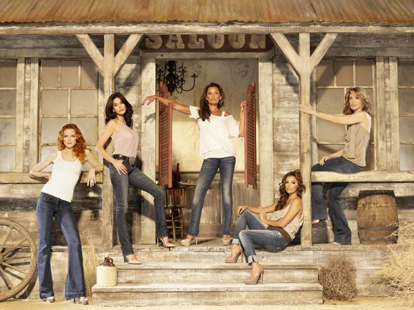 (Pictured: From left to right, Marcia Cross, Terri Hatcher, Vanessa Williams, Eva Longoria and Felicity Huffman appear in a promotional image for 'Desperate Housewives.')