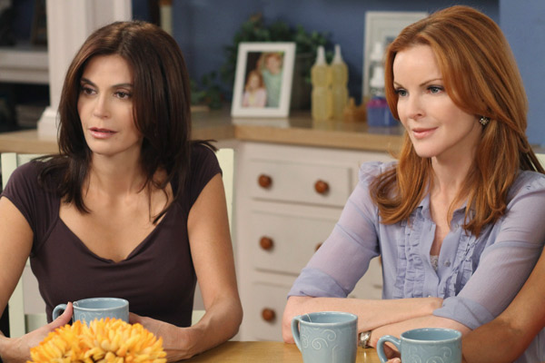 Terri Hatcher and Marcia Cross appear in a scene from 'Desperate Housewives', which returns for a seventh season on September 26.