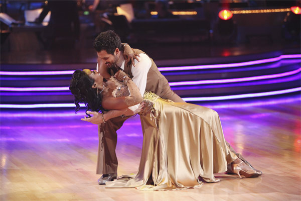 Brandy Norwood and Maksim Chmerkovskiy perform on 'Dancing With the Stars,' Monday, Sept.  20, 2010. The judges gave the couple 23 points out of 30.